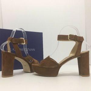 🆕 Stuart Weitzman Brown Suede Platform Sandals
